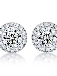 cheap -s925 sterling silver with platinum plated halo cushion shape cubic zirconia round stud earrings pierced