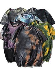 cheap -Men's Daily T-shirt Tie Dye Short Sleeve Tops 100% Cotton Casual Round Neck Navy Black Light Purple / Summer