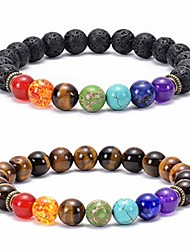 cheap -lava rock chakra bracelet 8mm tiger eye bracelet stress relief yoga beads anxiety healing bracelet aromatherapy essential oil diffuser bracelet bangle