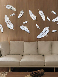 cheap -Feather 3D Mirror Wall Stickers Home Decor Art Decal Wall Stickers for Kids Room Living Room Decorating Mural Decoration