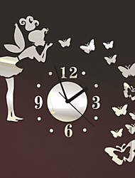 cheap -colorfulhall - angel beauty butterfly and figure wall clock removable diy acrylic 3d mirror wall decal wall sticker home decoration (silver)