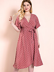 cheap -Women's A-Line Dress Knee Length Dress - Short Sleeve Polka Dot Patchwork Print Summer V Neck Casual Slim 2020 Wine XL XXL 3XL 4XL