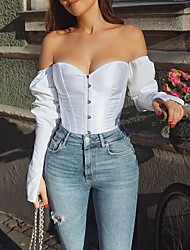 cheap -Women's Tube Top Solid Colored Long Sleeve Patchwork Sexy Tops White Black Red / Crop
