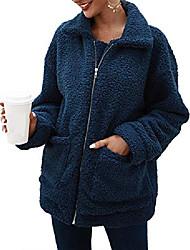povoljno -ženski kaputi, mutni flis kaputi, umjetni ukrasni zatvarač, topla zimska predimenzionirana jakna s džepovima (kraljevsko plava, xxxl)