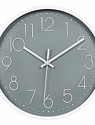 cheap -modern wall clock, silent non-ticking decorative battery operated wall clocks for living room, office, bathroom, kitchen, thicken plastics frame glass cover & #40;gray& #41;