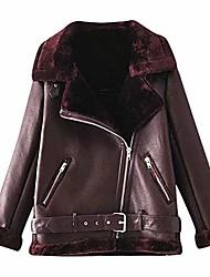 povoljno -žene umjetna krzna antilop kratka jakna rever vanjska odjeća jarac kaput zatvarač s džepnom pliš jaknom smeđa