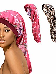 cheap -extra long satin bonnet sleep cap long bonnet for braids hair loose cap & #40;red flowers leopard& #41;