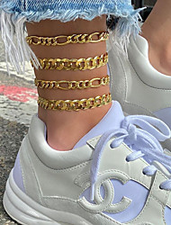 cheap -Anklet Simple European Fashion Women's Body Jewelry For Street Gift Link / Chain Alloy Gold 4 PCS