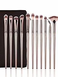 cheap -eye makeup brushes, 12 pcs professional eye shadow, concealer, eyebrow, foundation, powder liquid cream blending brushes set with carrying bag& #40;champagne gold& #41;