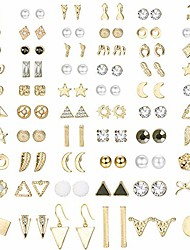 cheap -60 pairs stud earrings for women men triangle square circle bar star moon geometric leaf arrow bow cz ball faux pearl earrings set