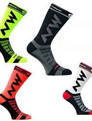 cheap -Men's Women's Athletic Sports Socks Cycling Socks Compression Compression Socks Windproof Breathable Quick Dry Green / Yellow Black / Yellow White Nylon Winter Road Bike Fitness Mountain Bike MTB
