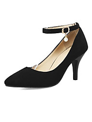 cheap -Women's Heels Pumps Pointed Toe Minimalism Daily Walking Shoes Nubuck Pearl Buckle Solid Colored Black Army Green Gray / 2-3