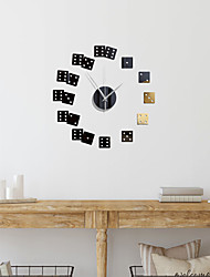 cheap -3D DIY Wall Clock Frameless Mirror Wall Sticker Home Decor for Living Room Bedroom