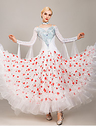 cheap -Ballroom Dance Dress Embroidery Split Joint Crystals / Rhinestones Women's Training Performance Long Sleeve Tulle Ice Silk