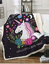 """cheap -cute sherpa throw blanket for girls, cartoon plush blanket with flowers little beast,soft worm fleece blanket kids adult for crib bed couch chair living room& #40;50""""x60"""",flowers & #41;"""