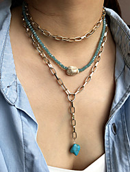 cheap -Women's Pendant Necklace Layered Necklace Stacking Stackable Friends Lucky Luxury Unique Design Fashion Punk Crystal Stone Alloy Gold 45 cm Necklace Jewelry 2pcs For Street Gift Birthday Party Beach