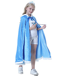 cheap -Princess Elsa Cloak Masquerade Flower Girl Dress Girls' Movie Cosplay A-Line Slip Vacation Dress Blue Cloak Children's Day Masquerade Polyester
