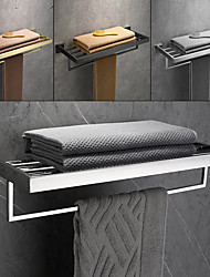 cheap -Brushed Double Towel Bar Stainless Steel Bathroom Towel Rack Shelf Wall Mount Contemporary Style Use for Bathroom/Kitchen/Living Room 30/40/50/60CM