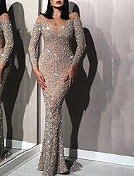 cheap -Women's Sheath Dress Maxi long Dress - Long Sleeve Solid Color Sequins Fall Hot Sexy Party Slim 2020 Silver S M L XL XXL