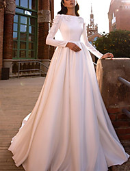 cheap -A-Line Wedding Dresses Jewel Neck Sweep / Brush Train Lace Satin Long Sleeve Simple with 2020