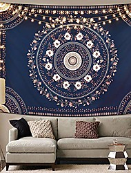 cheap -bohemian mandala tapestry, floral medallion tapestry blue sketched flower tapestry, indian art print hippie tapestry for room