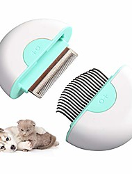 cheap -cat brush dog grooming brushes hair removal shedding cleaning massage comb pet dematting tools 2-in-1 grooming kit for kitten/puppy/pets,aqua