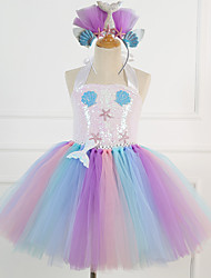 cheap -Mermaid Dress Girls' Movie Cosplay Vacation Dress New Year's Pink Dress Headwear Christmas Halloween Carnival Polyester / Cotton Polyester