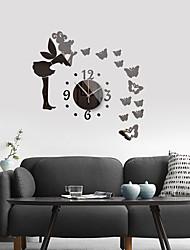 cheap -3D DIY Wall Clock Roman Numerals Clock Frameless Mirror Wall Sticker Home Decor for Living Room Bedroom 60cm*60cm
