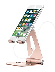cheap -Cell Phone Stand Holder Aluminum Alloy Desktop Cradle Dock Anti-Slip Base and Convenient Charging Port office Compatible with Smartphone Android apple iPhone Tablet Foldable Adjustable