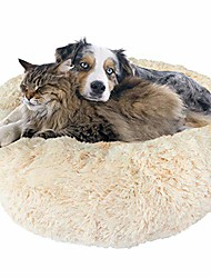 cheap -premium donut dog bed, cozy poof style giant pet bed great for cats & dogs - orthopedic, washable, durable dog bed (oatmeal, large)