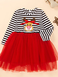cheap -Kids Toddler Girls' Active Cute Striped Solid Colored Patchwork Print Long Sleeve Knee-length Dress Red