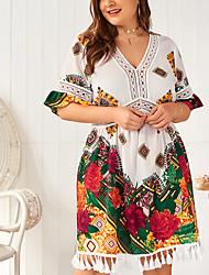 cheap -Women's A-Line Dress Knee Length Dress - Half Sleeve Floral Mesh Tassel Fringe Print Summer V Neck Plus Size Casual Slim 2020 White Army Green XL XXL 3XL 4XL