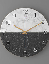 cheap -Novelty Home Wall Clock, Selected Metal Material, Creative Round Marble Wall Mute Clock Multicolor