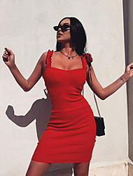 cheap -Women's Strap Dress Short Mini Dress White Black Blue Purple Red Blushing Pink Orange Sleeveless Solid Color Summer Strapless Sexy 2021 S M L