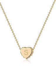cheap -tiny gold initial heart necklace choker diamond cz pave dainty chain 14k gold filled minimalist simple personalized jewelry gift for women letter s