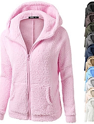cheap -Women's Zip Up Hoodie Hoodies Hoody Black White Blue Pink Full Zip Front Zipper Cowl Neck Hoodie Fleece Cotton Solid Color Cute Sport Athleisure Jacket Pullover Coat Outfits Long Sleeve Warm Soft