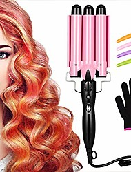 cheap -3 barrel curling iron wand three barrel hair waver iron hair crimper barrels with 4 pieces hair clips and heat resistant glove, curling waver iron heating styling tools (pink)