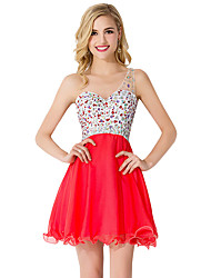 cheap -A-Line Elegant Beautiful Back Party Wear Cocktail Party Dress One Shoulder Sleeveless Short / Mini Chiffon with Pleats Crystals 2020