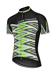 cheap -YORK TIGERS Men's Women's Short Sleeve Cycling Jersey Downhill Jersey Silicone Elastane Green / Black Bike Jersey Top Mountain Bike MTB Road Bike Cycling Sports Clothing Apparel / Advanced / Expert