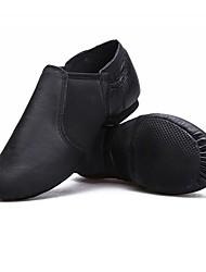 cheap -Women's Jazz Shoes Flat Flat Heel Camel Black Elastic Slip-on