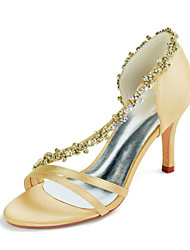 cheap -Women's Wedding Shoes Stiletto Heel Open Toe Sexy Wedding Party & Evening Rhinestone Solid Colored Satin White / Black / Purple