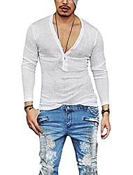 cheap -shirts for men - casual slim fit deep v neck summer long sleeve t-shirt basic shirt (xl, white)