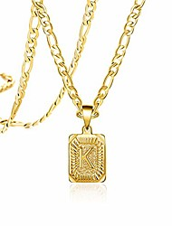 cheap -long gold necklaces for teen girls boys women men mom dad son daughter boyfriend fashion letter k 18k trendy figaro chain square stainless steel pendant cute dainty handamde fancy medallion