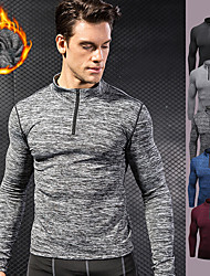 cheap -YUERLIAN Men's Half Zip Compression Shirt Running Shirt Athletic Long Sleeve Fleece Thermal Warm Breathable Quick Dry Fitness Gym Workout Performance Running Training Sportswear Solid Colored Tee