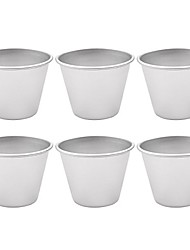 cheap -6pcs mini aluminum pudding molds non-stick individual egg tart molds chocolate brownies dessert pans baking cups tumblers silver size a