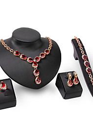 cheap -Women's Clear Red Synthetic Diamond Bridal Jewelry Sets Simple Basic Elegant Earrings Jewelry Gold For Wedding Engagement 1 set