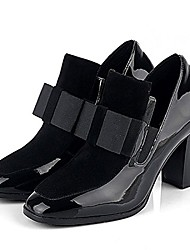 cheap -ta women bowknot leather thick heel toe platform pumps ankle boots leather black size 6