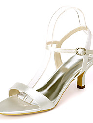 cheap -Women's Wedding Shoes Kitten Heel Open Toe Minimalism Wedding Party & Evening Satin Solid Colored White Black Purple