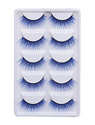cheap -5 Pairs/set Color Chemical Fiber False Eyelashes Purple Makeup Natural Exaggerated Eyelashes Party Halloween