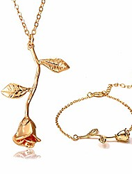 cheap -women's rose flower necklace 18k gold plated silver rose jewelry gift for women girl